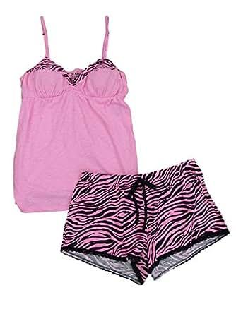 Joe Boxer Womens Pink Zebra Striped Shorty Pajamas