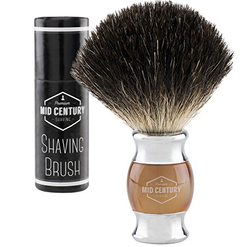 Brush Deluxe Metal (Mid Century Shaving Brush - Black Badger Hair - Metal and Faux Horn (Acrylic) For a Premium Wet Shave Experience (Brown))
