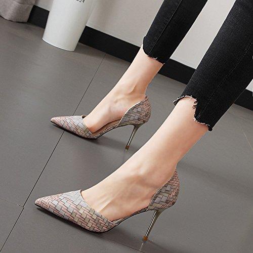 Xue Qiqi high-heel Schuhe Frauen stricken stricken stricken buchstabiere Farbe und vielseitige Tipp Licht - satin Mode fein mit einzelne Schuhe a56185