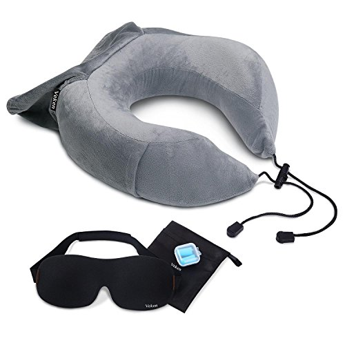 Veken Neck Travel Pillow for Airplane Train Car, Memory Foam Foldable U Shaped Chin Support Pillow, Travel Kit with Free Sleeping Mask and Earplugs