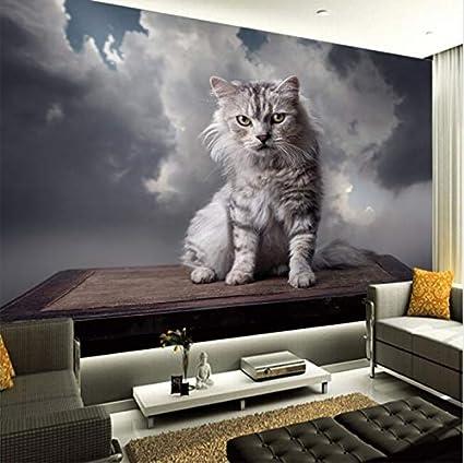 Mbwlkj Custom 3d Wallpaper Gray Cartoon Cat Tv Sofa