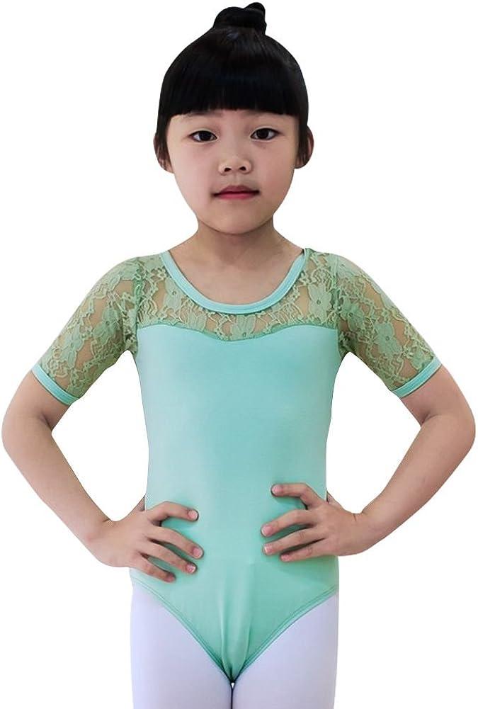 Brightup Enfants Filles Justaucorps de Ballet Danse en Dentelle Dancewear Combinaison Bodysuit Gym