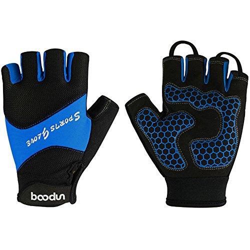 Ezyoutdoor Unisex Breathable Half Finger Glove Shock-Absorbing Super Pads Silica Gel Mountain Bicycle Bike Road Racing Gloves (Blue, Large)
