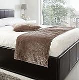 VENICE BEIGE 19X78 DEEP PILE VELVET BED RUNNER & 18'' CUSHION COVER #TEVLEV *AS*