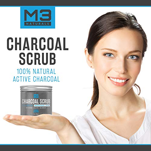 M3 Naturals Activated Charcoal Scrub Infused with Collagen & Stem Cell All Natural Body & Face Skin Care Exfoliating Blackheads Acne Scars Pore Minimizer Reduces Wrinkles Anti Cellulite12 OZ by M3 Naturals (Image #4)