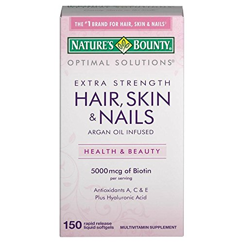Nature's Bounty Extra Strength Hair Skin Nails, 5000mcg of Biotin, 150 Count (Pack of 2) - Nature Bounty Skin Hair Nails