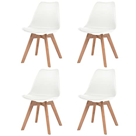 Sedie Cucina Festnight Sedie Sala da Pranzo in Pelle Artificiale Sedie Moderne Design Set da 4 Sedie Pelle Bianco