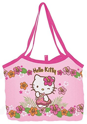 Sanrio Hello Kitty Mesh Tote Bag Beach Handbag Vacation - pink