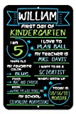 #5: Honey Dew Gifts Large First Day of School Blue and Green Chalkboard Style Photo Prop Tin Sign 12 x 18 inch - Reusable Easy Clean Back to School, Customizable with LIQUID CHALK MARKERS (Not Included)