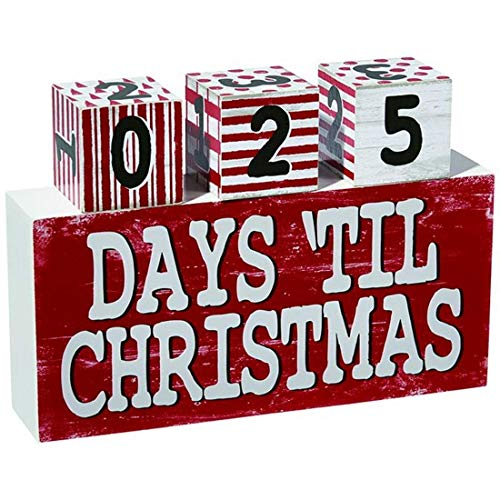 Holiday Countdown Days 'Til Christmas Table Block 365 Day Calendar, 9 1/2 Inch ()
