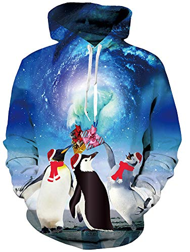 RAISEVERN Ugly Christmas Sweater Penuins Graphic Red Xmas Hat Planet Design Long Sleeve Funny Hoodie Custome for Men Women -