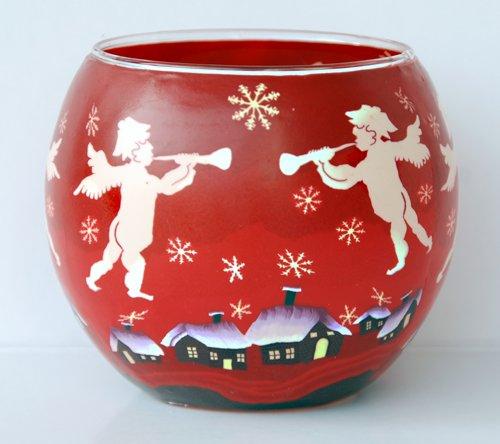 Leuchtglas mit Teelicht Motiv 60 Winterdorf mit Engeln/ 11cm