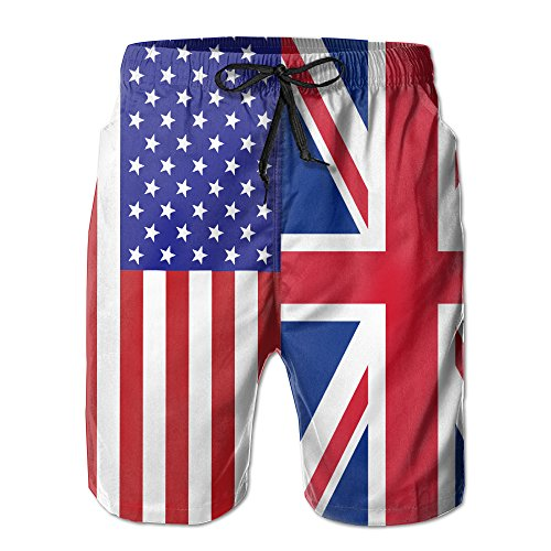 Striped Union Suit (MYKJ USA British Flag Summer Casual Breathable Board Shorts Swim Trunks Drawstring Striped Side Pockets)