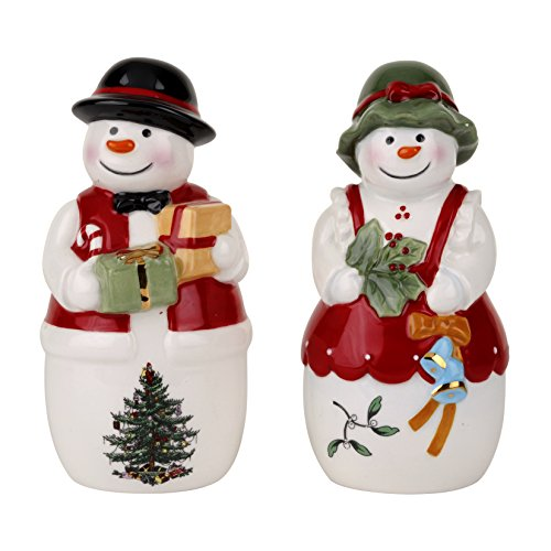 Spode Christmas Tree Mr. & Mrs. Snowman Salt & Pepper Set