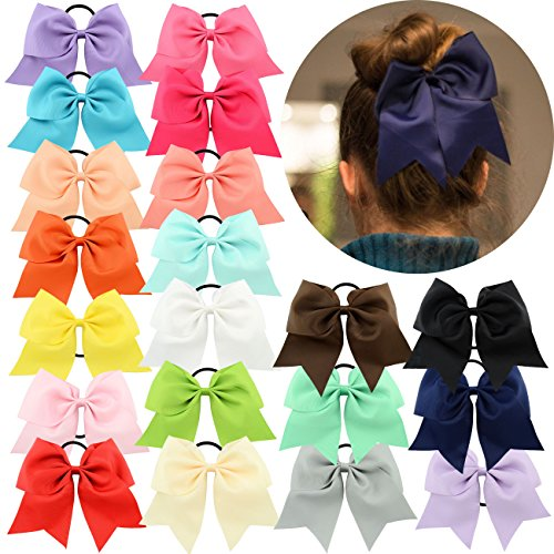YHXX YLEN 20 Pcs 8 Inch Large Solid Bow Hairpin Girls Bows With Rope Hair Bows (20 Pcs Mix - Olds Good 8 For Year Christmas Gifts