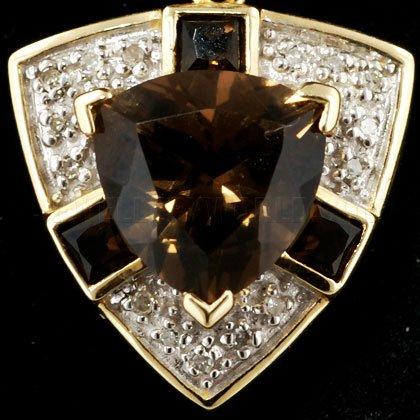 Quartz fumé-Diamant-Pendentif Or 9 Carats Billion DE TOLE PROTECTRICE