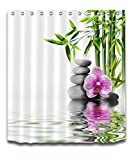 LB India Spa Zen Buddha Water Yoga Hot Spring Meditation Decoration Shower Curtain Polyester Fabric 3D 72x72 inch Mildew Resistant Waterproof Massage Stone Orchid Bathroom Bath Curtains