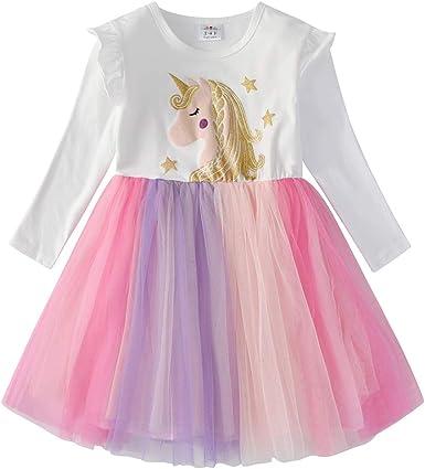 Oferta amazon: VIKITA Vestido Invierno Manga Larga Tul Algodón Bordado Unicornio para Niñas 2-8 Años Talla 5-6 años