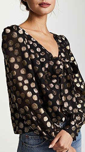 For Love & Lemons Women's Lottie Tie Front Blouse, Gold Dot, Medium by For Love & Lemons (Image #6)