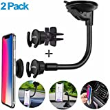 Pop Out Stand Car Mount [2-Pack] Car Air Vent Clip Holder Adjustable Arm Reusable Suction Dashboard Windshield Holder for Car Mount Expanding Grip for Xiaomi Samsung Galaxy Sony LG Oneplus Huawei