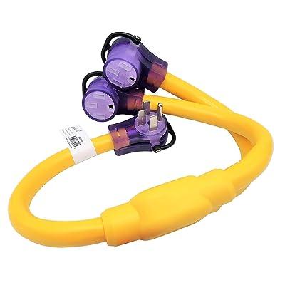 Parkworld 692095 RV 50 AMP Splitter Adatper 14-50P Male Plug to (2) 14-50R Female Connector 3FT (Yellow)