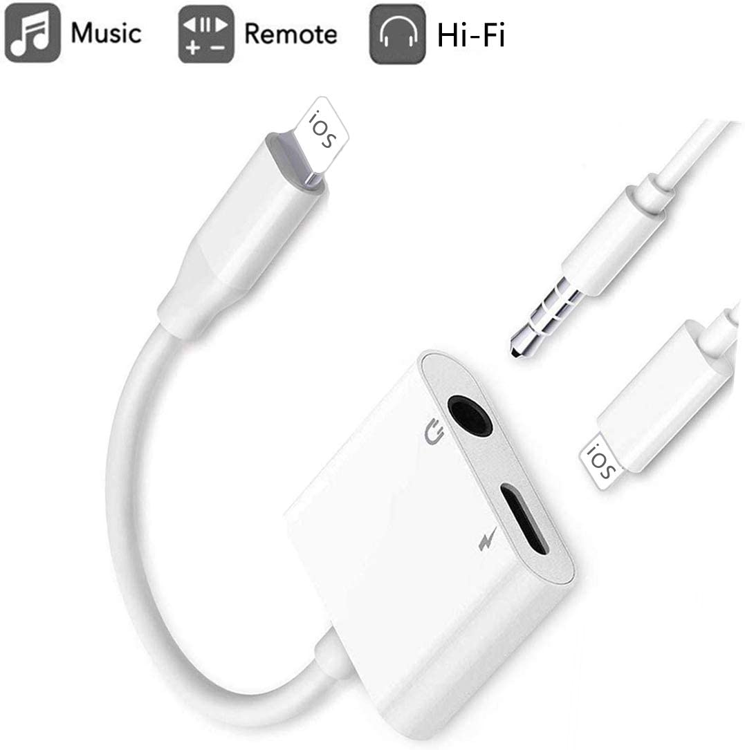 Earphone/Headphone 3.5mm Jack Adaptor Charger Cable Splitter for iPhone, 2 in 1 Headset AUX Audio Dongle Music Splitter Cable Accessories Compatible with iPhone 11/Xs/XR/X/8&Plus/7&Plus/iOS