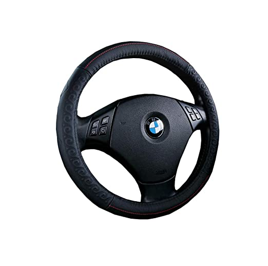 Amazon.com: ZJWZ Steering Wheel Cover Genuine Leather Four Seasons Universal Steering Wheel Cover Universal Size 37-39Cm,Black: Kitchen & Dining