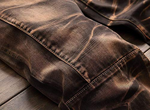 Vita Brown Distrutti Dritti Tempo Moda Giovane Retro Per Libero Uomo Di Pantaloni Slim Denim Media Fit Jeans Cintura Il Senza A Da 4pzgx8qw1