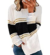 Dokotoo Womens Sweaters Crewneck Long Sleeve Loose Side Split Sweater Chunky Knitted Pullover Jum...