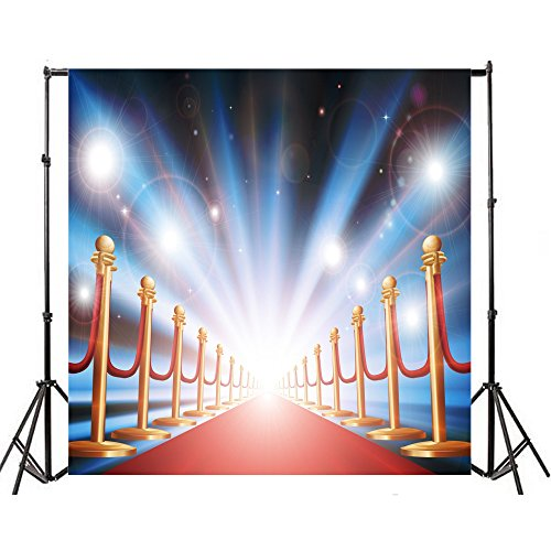 OFILA Seamless 8x8ft Vinyl Photography Background Dreamy Spots Red Carpet Avenue of Stars Guardrail Backdrops Wedding Fame Theme Children Adult Personal Art Photographic Shooting Video Studio (8' Avenue)