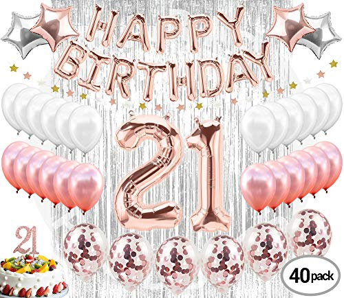 21st Birthday Decorations|21 Birthday Party Supplies| 21 Cake Topper Rose Gold| Banner| Rose Gold Confetti Balloons for her| Finally Legal 21| Silver Curtain Backdrop Props or Photos 21st Bday