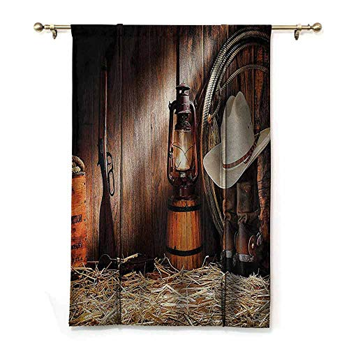 DONEECKL Simple Curtain Western Decor Collection Authentic Gear Straw Hat ATOP Genuine Leather Boots and Kerosene Oil Lantern Lamp Suitable for Bedroom Living Room Study, etc. W48 xL64 Dark Brown