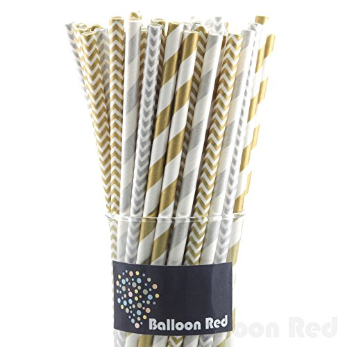 Biodegradable Paper Drinking Straws (Premium Quality), Pack of 100, Combo - Gold & Silver / Striped & (Homemade Yard Halloween Decorations)