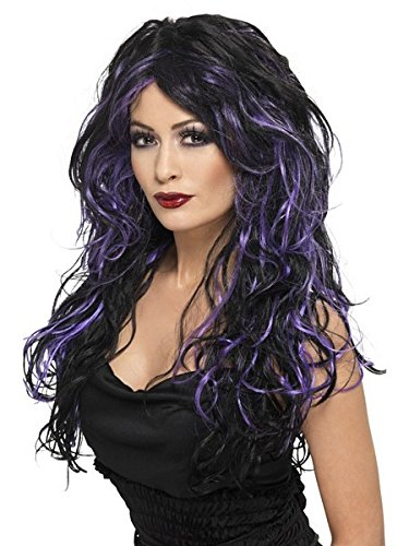Smiffys Women's Long Black and Purple Streaked Wig with Curls, One Size, Gothic Bride Wig, -