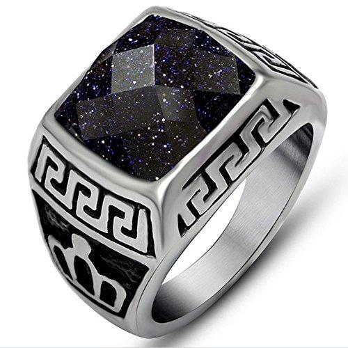 [Cheo Rish Fashion Personality Blue Sandstone Titanium steel Couple rings.] (Mens Dallas Cowboy Football Costumes)