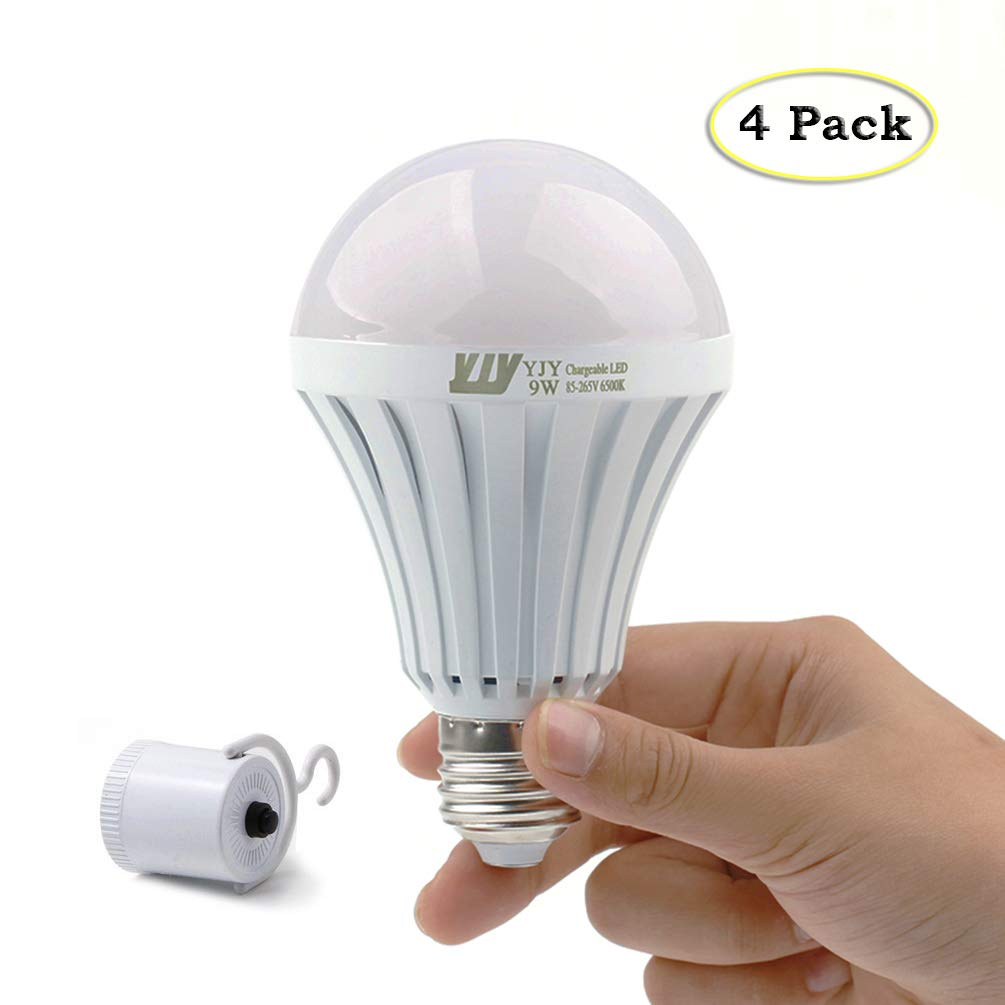 YJY Emergency LED Light Bulb with Build-in Rechargeable Battery for Hurricane Power Outage, Lampholder Hook for Camping Flashlight, 9W(75W Equivalent) 6000K E27 E26 110V 120V 220V(4 Pack)