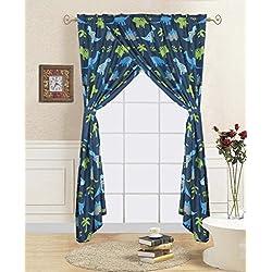 Linens And More 2 panel 2 tiebacks kids dinosuar curtain ( 4 piece set)