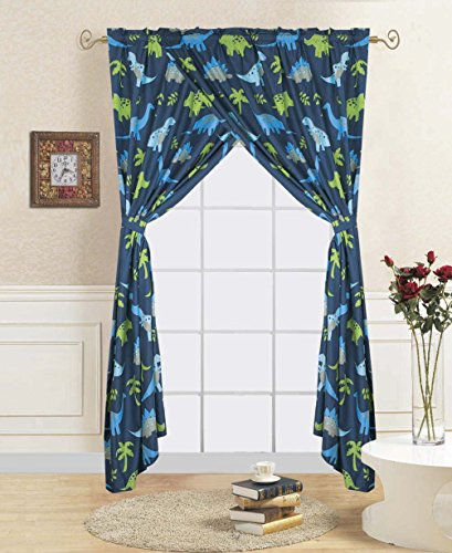 Linens And More 2 panel 2 tiebacks kids dinosuar curtain ( 4 piece set)
