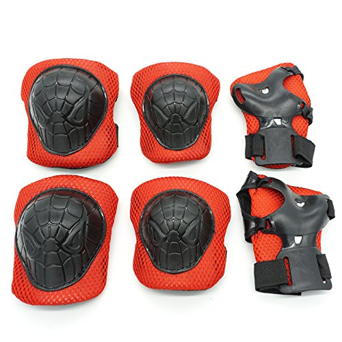 Cooplay Small Size SP Black Red Elbow Wrist Protective Knee Pads Protective Gear Guard Kids Boy Children Skateboard Bicycle Ice Skate Roller Skating Cycling Mini Riding Extreme Sports