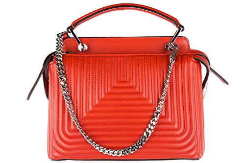 Fendi sac à main femme en cuir dot com small nappa shiny rouge