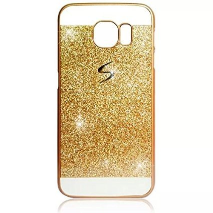 Vandot 1x 0.8mm Ultra Thin Set Accessories Bling Hard Case PC Case Cover For Samsung Galaxy S6Edge Premium Luxury Bling Crystal Case Protection Case Glitter Protective Skin Hard Back Cover Glitter Shinning Case Ultra Light Case Light Case Hybrid Handytasche. (Samsung Galaxy S6Edge, Gold)