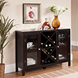Modern Style Bar Storage Freestanding Wine Racks Wooden Frame with Glass Panels Espresso Finish - Includes Modhaus Living Pen
