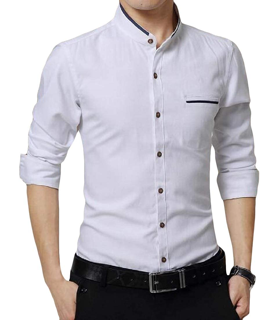 Cromoncent Men Cotton Button-Down Long Sleeve Stand Collar Shirt