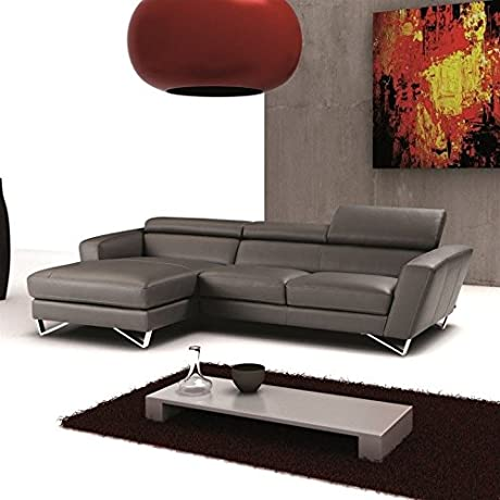 JM Furniture Sparta Leather Left Mini Sectional In Grey