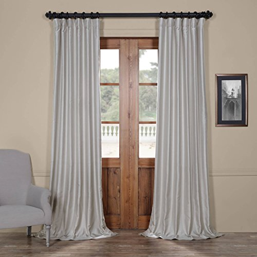 Half Price Drapes Pdch-HANB91-96 Yarn Dyed Faux Dupioni Silk Curtain, 50 x 96, Elemental Silver