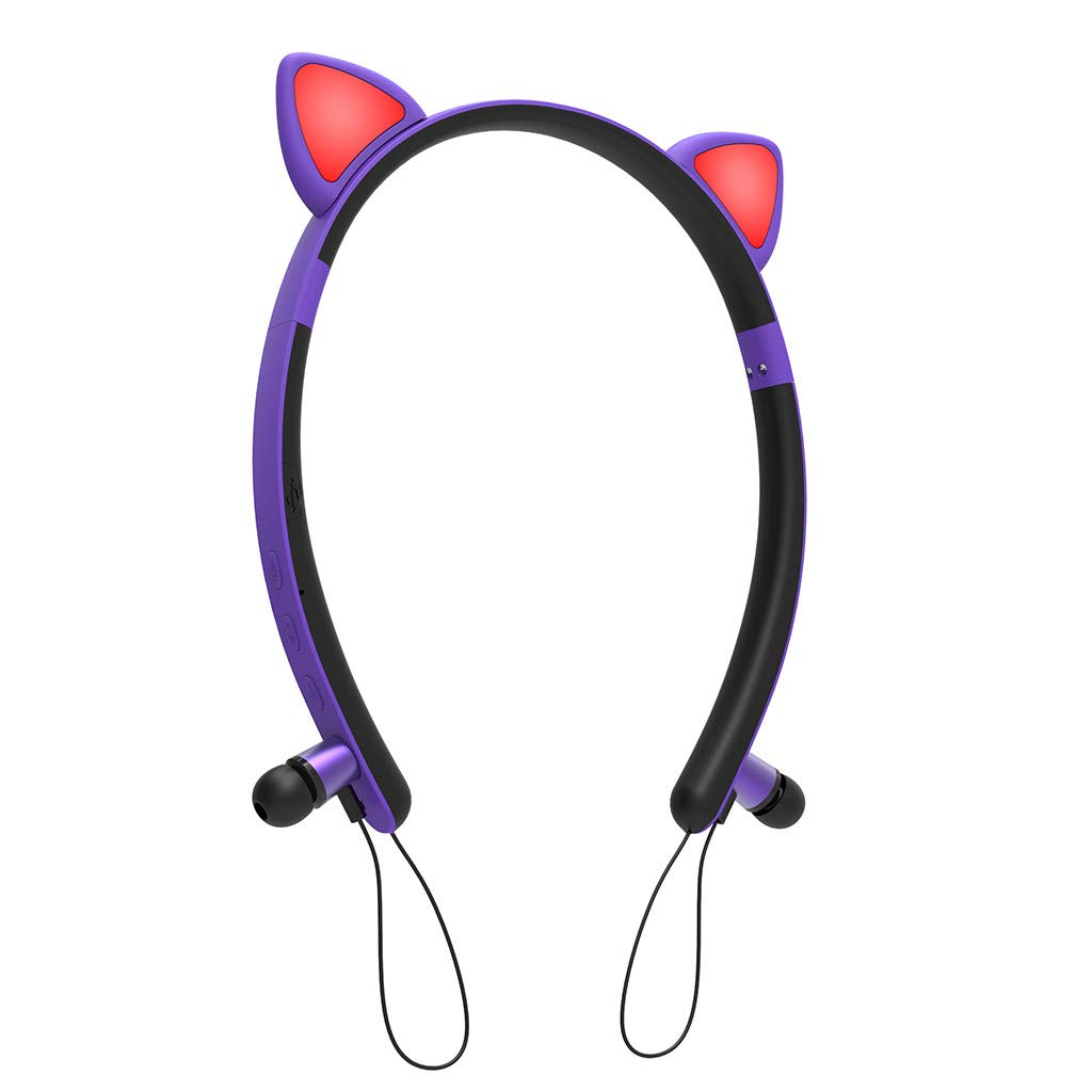 Karooch Cute Cat Ear Shape Wireless Glowing Bluetooth Headset Colorful Sport Headphone Fashion Earphone Stereo Sound for New Year, Valentine's Day and Other Festival (Purple)