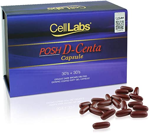 CellLabs Posh D-Centa Deer Placenta Live Stem Cell Therapy, Powerful Anti-Aging Formula, Cellular Repair & Energy Metabolism 12 in 1 Formulation with Marine Collagen, 60's Capsule, 2 Months Supply