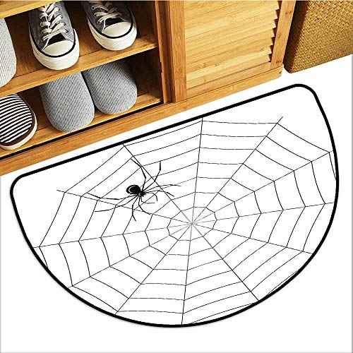 Axbkl Front Door Mat Large Outdoor Indoor Spider Web Toxic Poisonous Insect Thread Crawly Malicious Bug Halloween Character Design Non-Slip Backing W24 xL16 Black White -