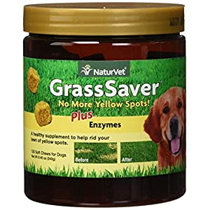 NaturVet - GrassSaver Supplement for Dogs - Healthy Supplement to Help Rid Your Lawn of Yellow Spots - Synergistic Combination of B-Complex Vitamins & Amino Acids - 120 Soft Chews 90