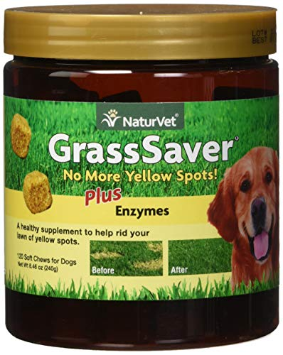 NaturVet - GrassSaver Supplement for Dogs - Healthy Supplement to Help Rid Your Lawn of Yellow Spots - Synergistic Combination of B-Complex Vitamins & Amino Acids - 120 Soft Chews